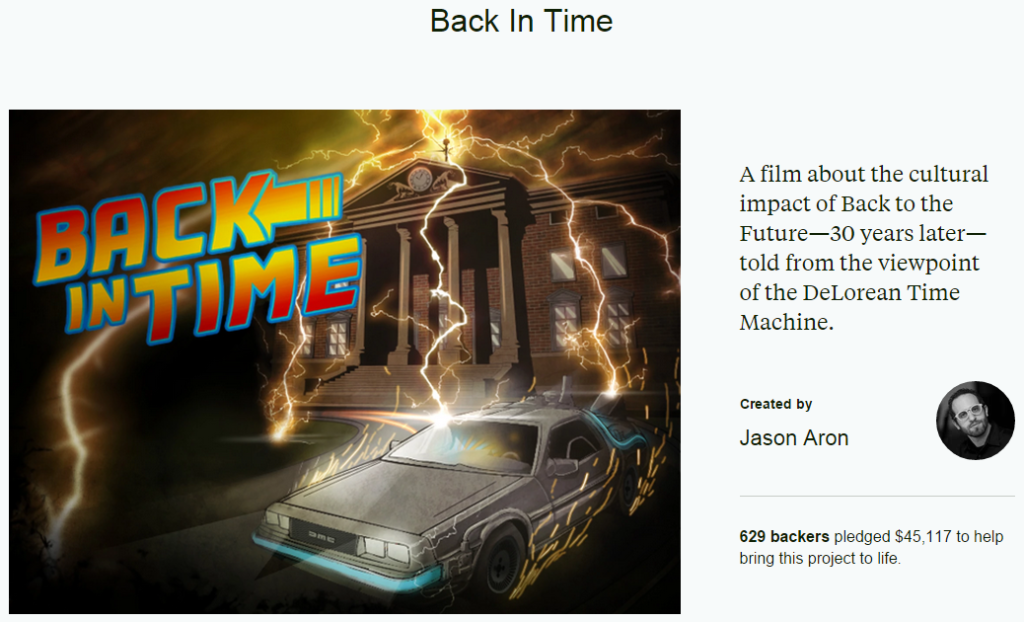 Back in time first kickstarter