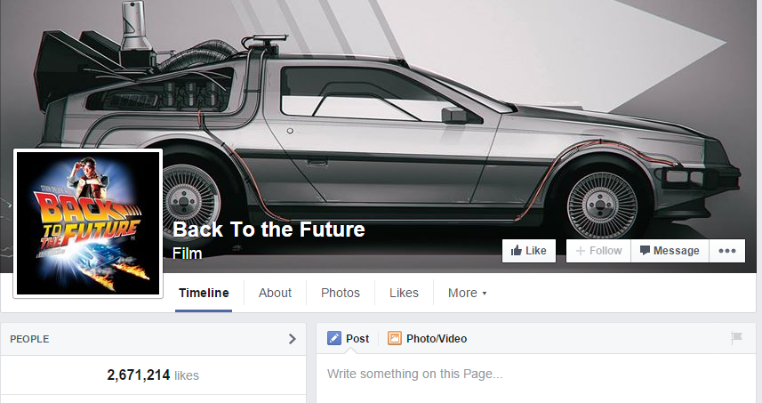 Back to the future facebook page