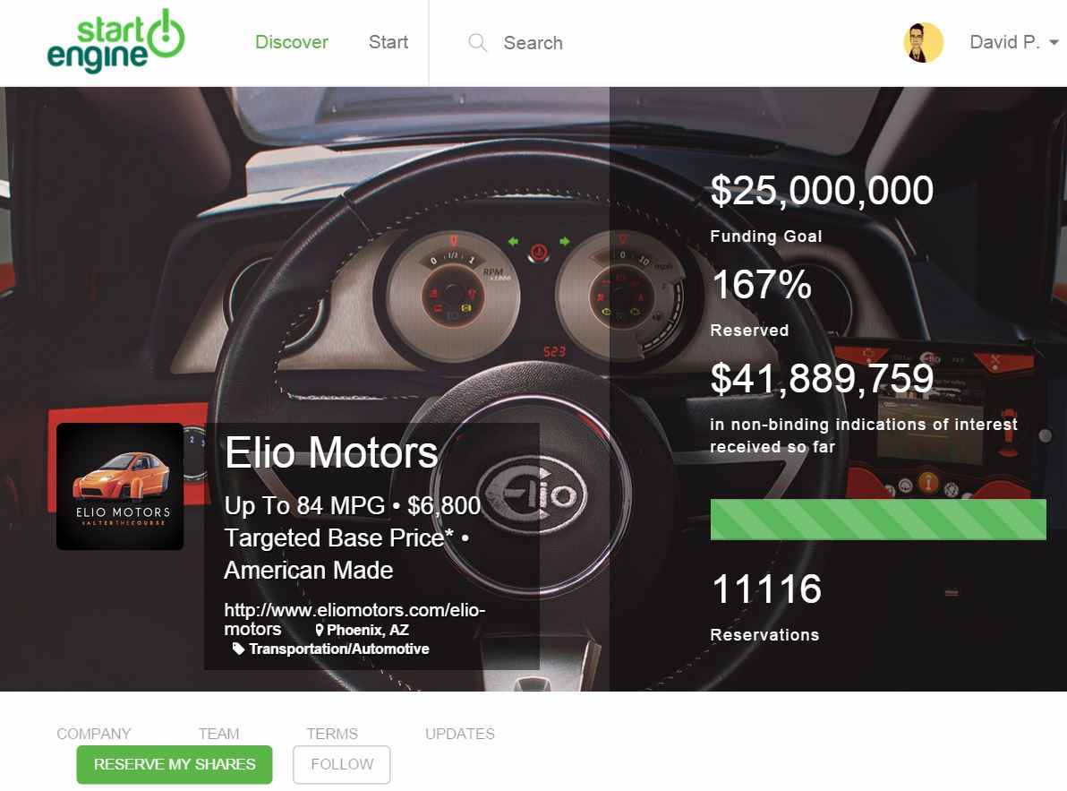 Elio StartEngine Equity Crowdfunding Screenshot